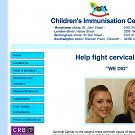 Simple informative website for children's cervical cancer immunisation clinics in four locations (Manchester, London, Southampton and Birmingham).